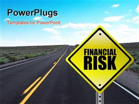 PowerPoint template displaying yellow Financial Risk street sign concept over a white background