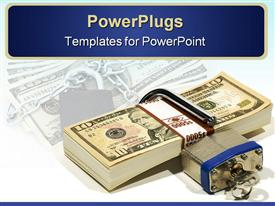 PowerPoint template displaying a depiction of a bundle of dollars being secure