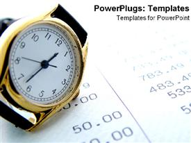 PowerPoint template displaying a wristwatch with financial report in the background