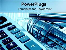 PowerPoint template displaying accounting and calculating with pens notebooks and calculators on a blue background