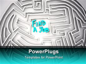 PowerPoint template displaying a maze with a word find a job