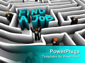 PowerPoint template displaying employment metaphor with people navigating a maze to find a job