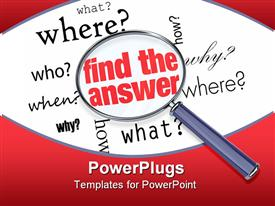 Magnifying glass hovering over several words like who what where when why and how powerpoint theme