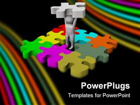 PowerPoint template displaying man standing in the middle of jigsaw puzzle game lifting missing piece