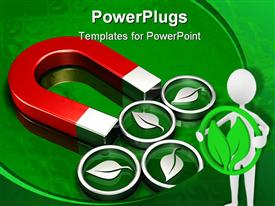 PowerPoint template displaying four metallic green leaf symbols attached to a large red magnet