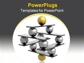 PowerPoint template displaying lots of gold and black 3D balls forming a pyramid shape