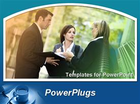 PowerPoint template displaying three business people standing and discussing having a meeting