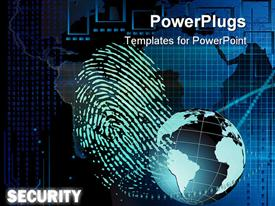 PowerPoint template displaying bio-metric security showing fingerprint, blue globe and binary codes