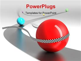 PowerPoint template displaying victory is in a competition conception. Marbles on a narrow way