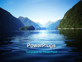 PowerPoint template displaying fresh view over Doubtful Sound fiord New Zealand
