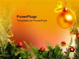 PowerPoint template displaying holiday christmas decorations and festivities with mistletoe on orange background