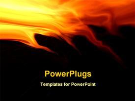 PowerPoint template displaying abstract design depicting fire flames at the top of the background with yellow, orange and red flames getting into the black background