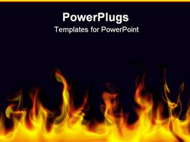 PowerPoint template displaying flames bottom black background