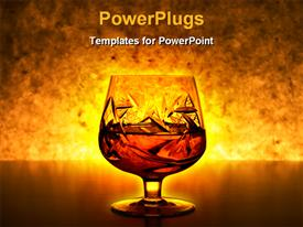 PowerPoint template displaying drinking glass with liquid inside and a gold background