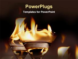 PowerPoint template displaying two wine glasses with water and fire on top