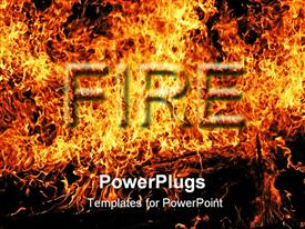 PowerPoint template displaying fire word in flames, digital representation of fire and flames