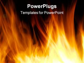 PowerPoint template displaying orange flames against black background, fireplace