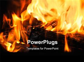 PowerPoint template displaying close-up of the wood burns on fire in the background.