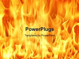 PowerPoint template displaying fire and flames background