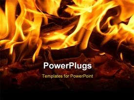 PowerPoint template displaying fireplace with wooden log and glowing fire