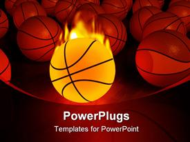 PowerPoint template displaying burning basketball ball and multiple basketballs on red background