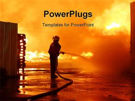PowerPoint template displaying firefighters in work with extinguishing burning house