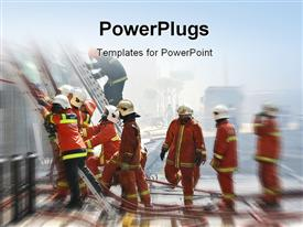 Firemen at work template for powerpoint