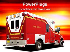 PowerPoint template displaying fire rescue firetruck on white ground and yellow, orange and red background