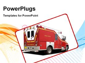 PowerPoint template displaying big red fire rescue truck over white background