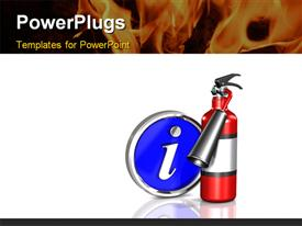PowerPoint template displaying metallic fire extinguisher with large information icon and fire in background