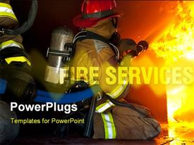PowerPoint template displaying firefighters attack a fire in a training prop