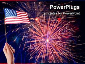 PowerPoint template displaying hand holding American flag with Independence Day fireworks