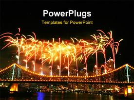 PowerPoint template displaying fireworks with copy space at the top