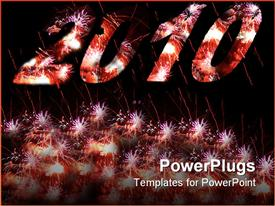 PowerPoint template displaying year 2010 fireworks for new years eve