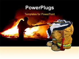 PowerPoint template displaying fireman quenching fire with fire equipment in background with close-up of fireman kits