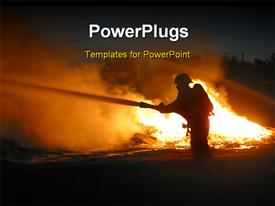 PowerPoint template displaying silhouette of a firefighter at a fire scene in the background.