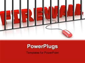 PowerPoint template displaying modern red computer mouse connected to the red word Firewall in the background.
