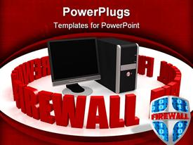 A personal computer and the word firewall powerpoint template