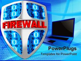 PowerPoint template displaying shield computer abstract (done in 3D, isolated) in the background.