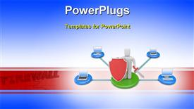 PowerPoint template displaying firewall protection depiction with 3D man holding red shield and sword