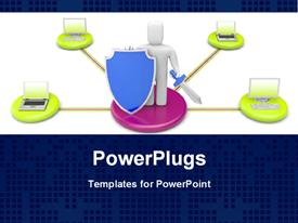 PowerPoint template displaying data protection depiction with 3D man holding sword and blue shield