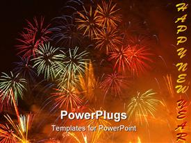 PowerPoint template displaying colorful Fireworks burst display with building silhouette
