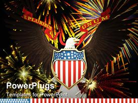 PowerPoint template displaying us emblem over fireworks