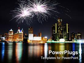 PowerPoint template displaying fireworks celebration over night city sky with reflection in water