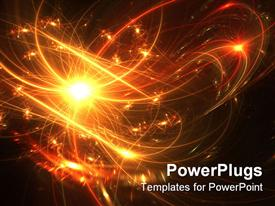 PowerPoint template displaying fireworks display with bright orange and yellow colors