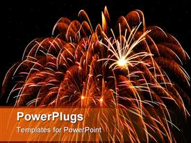 PowerPoint template displaying large feathery fireworks burst with smaller bursts