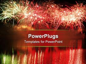 PowerPoint template displaying spectacular fireworks in the night sky reflecting in the lake
