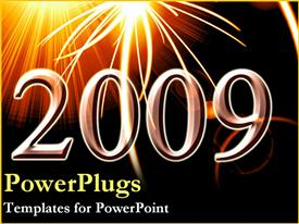 PowerPoint template displaying 2009 over fireworks