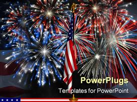 PowerPoint template displaying fireworks displayed behind the American flag on a stand against a night sky