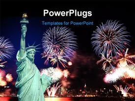 PowerPoint template displaying statue of Liberty in NewYork and 4th of July fireworks